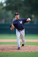 GCL Yankees West relief pitcher Havid Burgos (15) delivers a pitch during the first game of a doubleheader against the GCL Braves on July 30, 2018 at Champion Stadium in Kissimmee, Florida.  GCL Yankees West defeated GCL Braves 7-5.  (Mike Janes/Four Seam Images)