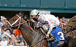 October 09,, 2021: #3 Strava and jockey Tyler Gaffalione win the 5th race, Maiden $84,000 for 2 year olds at Keeneland Racecourse in Lexington, KY on October 09, 2021.  Candice Chavez/ESW/CSM
