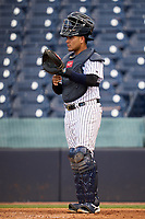 Tampa Tarpons catcher Carlos Narvaez (5) during a game against the Lakeland Flying Tigers on July 15, 2021 at George M. Steinbrenner Field in Tampa, Florida.  (Mike Janes/Four Seam Images)