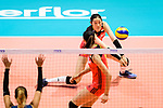 Ting Zhu of China passes the ball during the FIVB Volleyball Nations League Hong Kong match between China and Argentina on May 29, 2018 in Hong Kong, Hong Kong. Photo by Marcio Rodrigo Machado / Power Sport Images