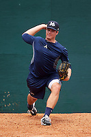 Mississippi Braves pitcher Jason Hursh (8) throws a bullpen during practice before a game against the Mobile BayBears on April 28, 2015 at Hank Aaron Stadium in Mobile, Alabama.  The game was suspended after the top of the second inning with Mobile leading 3-0, the BayBears went on to defeat the Braves 6-1 the following day.  (Mike Janes/Four Seam Images)