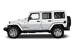 Car Driver side profile view of a 2017 JEEP Wrangler-Unlimited Sahara 5 Door SUV Side View