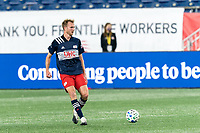 FOXBOROUGH, MA - OCTOBER 3: Henry Kessler #4 of New England Revolution passes the ball during a game between Nashville SC and New England Revolution at Gillette Stadium on October 3, 2020 in Foxborough, Massachusetts.