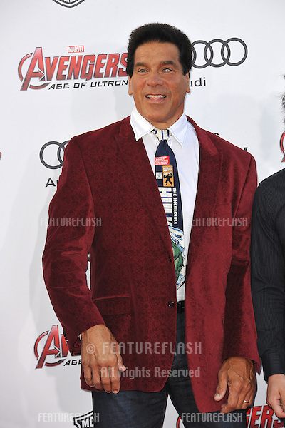 """Lou Ferrigno at the world premiere of """"Avengers: Age of Ultron"""" at the Dolby Theatre, Hollywood.<br /> April 13, 2015  Los Angeles, CA<br /> Picture: Paul Smith / Featureflash"""