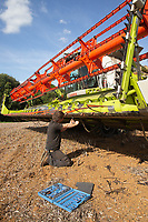 12.9.2020 Tightening finger bars on a combine.  <br /> ©Tim Scrivener Photographer 07850 303986<br />      ....Covering Agriculture In The UK.