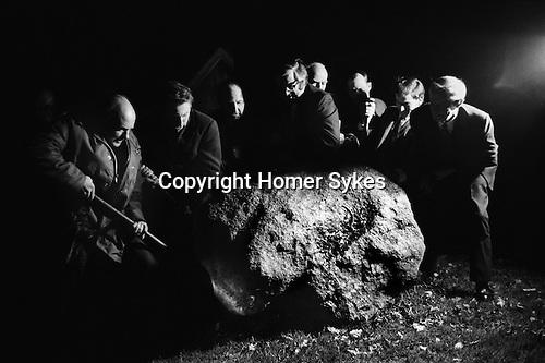 Turning the Devils Stone, Shebbear Devon. England 1974