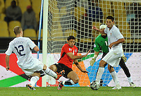 Michael Bradley of USA scores his side's second goal. USA defeated Egypt 3-0 during the FIFA Confederations Cup at Royal Bafokeng Stadium in Rustenberg, South Africa on June 21, 2009.