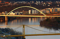 Empty Birmingham bridge and 10th Street bridge are shown from the Mount Washington neighborhood on Tuesday April 7, 2020 in Pittsburgh, Pennsylvania. (Photo by Jared Wickerham/Pittsburgh City Paper)