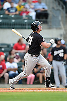 San Antonio Missions outfielder Lee Orr (21) at bat during a game against the Arkansas Travelers on May 24, 2014 at Dickey-Stephens Park in Little Rock, Arkansas.  Arkansas defeated San Antonio 4-2.  (Mike Janes/Four Seam Images)