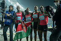 1st May 2021; Silesian Stadium, Chorzow, Poland; World Athletics Relays 2021. Day 1; Kenyan team celebrate winning a medal in the mixed hurdle relays