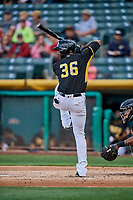 Jabari Blash (36) of the Salt Lake Bees bats against the Sacramento River Cats at Smith's Ballpark on May 17, 2018 in Salt Lake City, Utah. Salt Lake defeated Sacramento 12-11. (Stephen Smith/Four Seam Images)