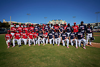 American and National teams pose for a photo after the Baseball Factory All-Star Classic at Dr. Pepper Ballpark on October 4, 2020 in Frisco, Texas.  (Ken Murphy/Four Seam Images)