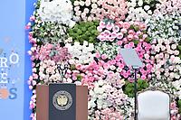 BOGOTÁ - COLOMBIA, 07-08-2018: El atril presidencial es visto previo a la ceremonia de juramento en donde Ivan Duque, toma posesión como presidente de la República de Colombia para el período constitucional 2018 - 22 en la Plaza Bolívar el 7 de agosto de 2018 en Bogotá, Colombia. / The presidential stand is seen prior the swearing ceremony where Ivan Duque, takes office to constitutional term as president of the Republic of Colombia 2018 - 22 at Plaza Bolivar on August 7, 2018 in Bogota, Colombia. Photo: VizzorImage/ Gabriel Aponte / Staff
