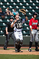 Winston-Salem Dash catcher Sean O'Connell (35) tracks a pop fly during the game against the Carolina Mudcats at BB&T Ballpark on April 22, 2015 in Winston-Salem, North Carolina.  The Dash defeated the Mudcats 4-2..  (Brian Westerholt/Four Seam Images)