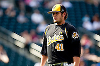 Charlie Lowell (41) of the Wichita State Shockers walks back towards the dugout after being taken out during a game against the Missouri State Bears on April 9, 2011 at Hammons Field in Springfield, Missouri.  Photo By David Welker/Four Seam Images