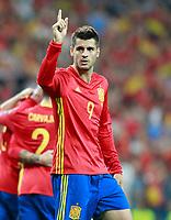 Spain's Alvaro Morata celebrates goal during FIFA World Cup 2018 Qualifying Round match. September 2,2017.(ALTERPHOTOS/Acero)