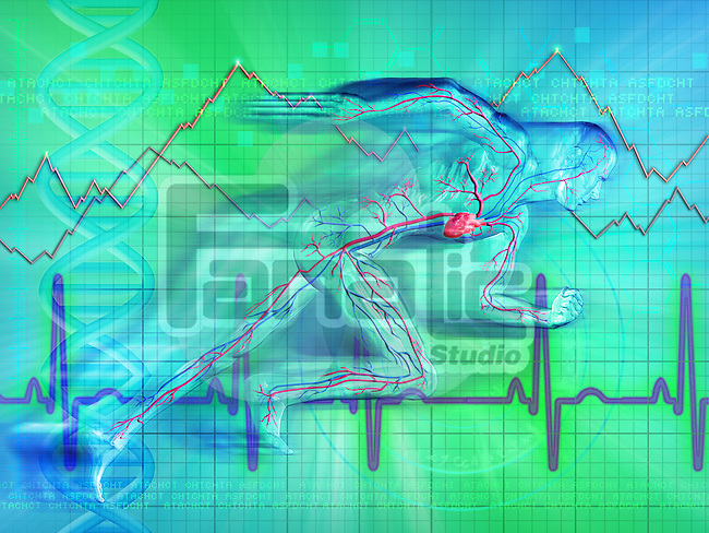 Illustrative representation showing heartbeat graph of a man