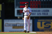Danville Braves shortstop AJ Graffanino (12) on defense against the Bristol Pirates at American Legion Post 325 Field on July 1, 2018 in Danville, Virginia. The Braves defeated the Pirates 3-2 in 10 innings. (Brian Westerholt/Four Seam Images)
