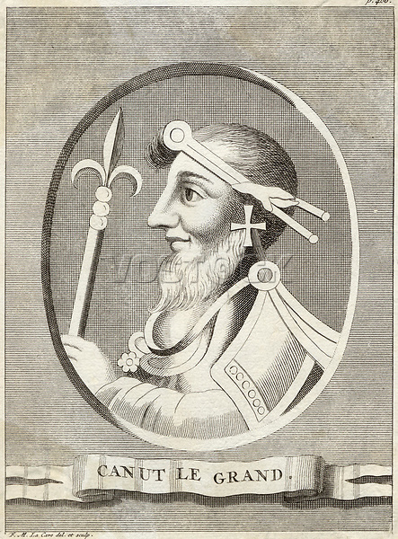 KING CNUT , CANUTE  King of England (1016-35) and Denmark (1018-35) / Designed and engraved by FM La Cave / -1035