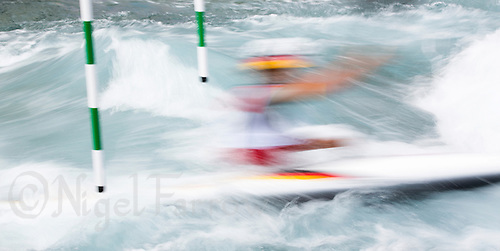 02 AUG 2012 - CHESHUNT, GBR - Jasmin Schornberg (GER) of Germany makes her final run during the women's Kayak Single (K1) during the London 2012 Olympic Games event at Lee Valley White Water Centre, Cheshunt, Great Britain .(PHOTO (C) 2012 NIGEL FARROW)
