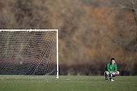 A Sunday morning goalkeeper is seen at Hackney Marshes - 11/01/09 - MANDATORY CREDIT: Gavin Ellis/TGSPHOTO - Self billing applies where appropriate - Tel: 0845 094 6026