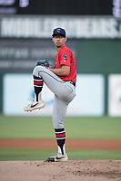 Jacksonville Jumbo Shrimp starting pitcher Robert Dugger (12) during a Southern League game against the Mobile BayBears on May 8, 2019 at Hank Aaron Stadium in Mobile, Alabama.  Jacksonville defeated Mobile 7-1.  (Mike Janes/Four Seam Images)