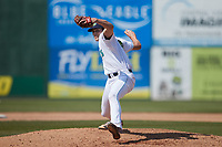 Lynchburg Hillcats relief pitcher Cade Smith (40) in action against the Myrtle Beach Pelicans at Bank of the James Stadium on May 23, 2021 in Lynchburg, Virginia. (Brian Westerholt/Four Seam Images)
