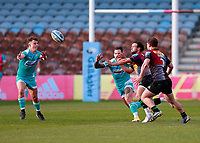17th April 2021; Twickenham Stoop, London, England; English Premiership Rugby, Harlequins versus Worcester Warriors; Danny Care of Harlequins gets the ball wide while closely watched by Hougaard of Worcester