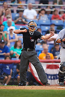 Umpire Derek Gonzales during a game between the Trenton Thunder and Binghamton Mets on May 29, 2016 at NYSEG Stadium in Binghamton, New York.  Trenton defeated Binghamton 2-0.  (Mike Janes/Four Seam Images)