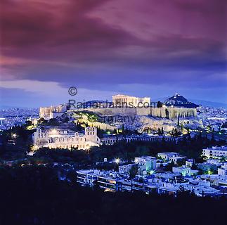 Griechenland, Attika, Athen: Akropolis und Parthenon am Abend   Greece, Attica, Athens: Acropolis and Parthenon at night
