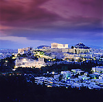 Griechenland, Attika, Athen: Akropolis und Parthenon am Abend | Greece, Attica, Athens: Acropolis and Parthenon at night