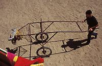 "Matador Dennis Borba trains with a ""bull-cart"" at his father's ranch in Escalon, California, June 14, 2000. (photo by Pico van Houtryve)"