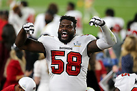 7th February 2021, Tampa Bay, Florida, USA;  Shaquil Barrett (58) of the Buccaneers was telling the fans that this was the Buccaneers house during the Super Bowl LV game between the Kansas City Chiefs and the Tampa Bay Buccaneers on February 7, 2021 at Raymond James Stadium
