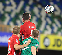 7th September 2020; Windsor Park, Belfast, County Antrim, Northern Ireland; EUFA Nations League, Group B, Northern Ireland versus Norway; Even Hovland of Norway wins the header to clear a Northern Ireland attack