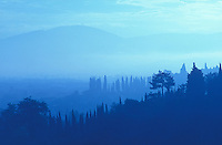 Italy, Florence, view of the countryside early morning blue light