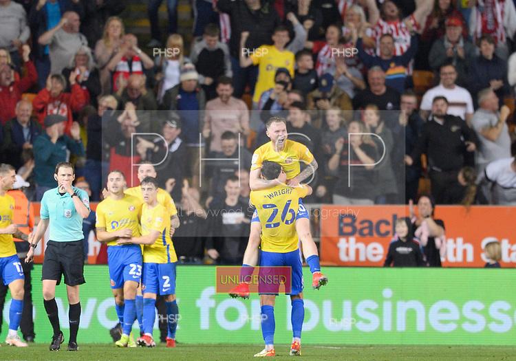 24/08/2021 Carabao Cup 2nd Round Blackpool v Sunderland <br /> <br /> Aiden O'Brien celebrates after securing victory for Sunderland