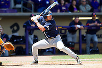 Auburn Tigers third baseman Damek Tomscha #25 at bat against the LSU Tigers in the NCAA baseball game on March 24, 2013 at Alex Box Stadium in Baton Rouge, Louisiana. LSU defeated Auburn 5-1. (Andrew Woolley/Four Seam Images).