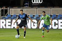 SAN JOSE, CA - OCTOBER 18: Shea Salinas #6 of the San Jose Earthquakes during a game between Seattle Sounders FC and San Jose Earthquakes at Earthquakes Stadium on October 18, 2020 in San Jose, California.