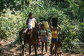 Osa Peninsula, Costa Rica. Three women and a child with a horse carrying water in the rainforest.
