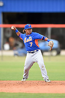 New York Mets second baseman Branden Kaupe (7) during a minor league spring training game against the St. Louis Cardinals on March 27, 2014 at the Port St. Lucie Training Complex in Port St. Lucie, Florida.  (Mike Janes/Four Seam Images)