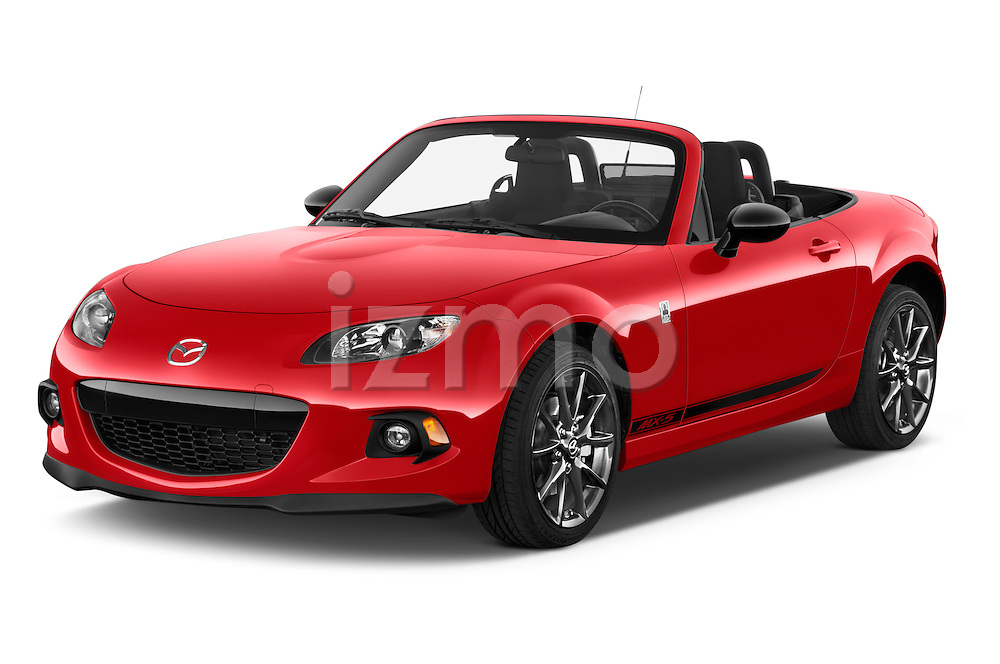 2015 Mazda MX-5 Miata Club Auto 2 Door Convertible Angular Front stock photos of front three quarter view