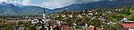 Panorama, Eschen, Rheintal, Rhine-valley, Liechtenstein. Panorama.