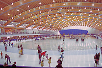 Richmond Olympic Oval, Richmond, BC, British Columbia, Canada - 2010 Vancouver Winter Olympics Speed Skating Venue, Public Skating Rink.  The ceiling is constructed mainly of pine beetle-killed wood.
