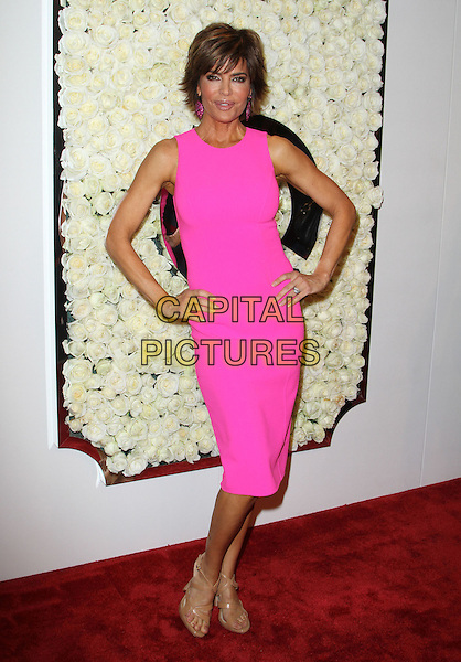 Lisa Rinna.The QVC Red Carpet Style Event held at The Four Seasons at Los Angeles in Los Angeles, California, USA..February 23rd, 2012.full length pink dress sleeveless hands on hips.CAP/ADM/KB.©Kevan Brooks/AdMedia/Capital Pictures.