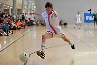 Liam Cornforth of Hamilton Boys' High School during the Futsal NZ Secondary Schools Junior Boys Final between Hamilton Boys High School and Selwyn College at ASB Sports Centre, Wellington on 26 March 2021.<br /> Copyright photo: Masanori Udagawa /  www.photosport.nz
