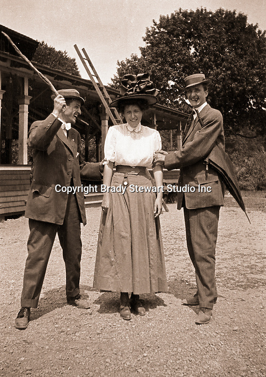 North East PA:  Brady and Clark clowning around with Aunt Maggie before going to dinner.  During the early 1900s, the Stewart family vacationed on Lake Erie near North East Pennsylvania. Since hotels and motels were non-existent, camping was the only viable option for a large number of vacationers