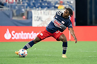 FOXBOROUGH, MA - MAY 22: DeJuan Jones #24 of New England Revolution during a game between New York Red Bulls and New England Revolution at Gillette Stadium on May 22, 2021 in Foxborough, Massachusetts.