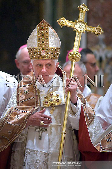 Pope Benedict XVI attends a Vespers prayer in Montecassino Basilica inside the abbey, in Cassino, Italy, Sunday May 24, 2009.