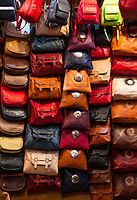 Fes, Morocco.  Leather Purses for Sale in the Medina, Fes El-Bali.