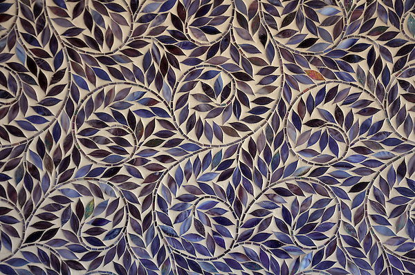 Jacqueline Vine, a jewel glass  waterjet mosaic shown in Ametrine, is part of the Silk Road® collection by New Ravenna.